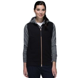 LULULEMON Departure Black Vest Rose Gold Zipper 10
